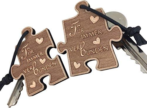 endlosschenken Schlüsselanhänger Puzzle Für Immer Verbunden sehr Gute Qualität doppelseitige Gravur aus Holz