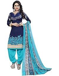 rangrasiya Women's Faux Crepe Printed Salwar Suit with Nazmeen Dupatta (PD08243, Navy Blue, Free Size)