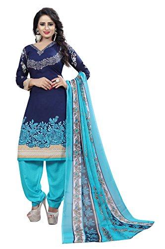 Rangrasiya Women\'s Navy Blue Faux Crepe Printed Salwar Suit