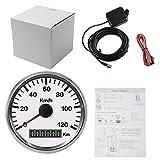 Atool Tachometer (85 mm), 0–120kmh, wasserdicht, aus Edelstahl, für Autos, Motorräder, Lastwagen, Kastenwagen oder Boote mit 12V oder 24V