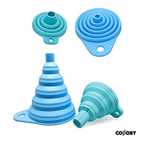 Trichter Pulver Für (Collory Silikon-Trichter Satz faltbar (2 Stück) für Küche und Haushalt | Einfüllhilfe Set | Hitzebeständig -30°C - +230°C | Lebensmittelecht | Zusammenklappbar | 2er-Set: Blau (groß+klein))