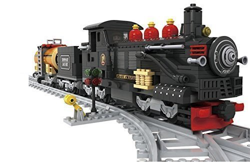Black-Train-Set-Coal-Car-Oil-Car-Classic-Steam-Engine-10pcs-Tracks-25812