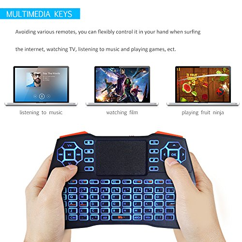 Wireless Mini Backlit Keyboard with Touchpad Mouse, U2C i8+