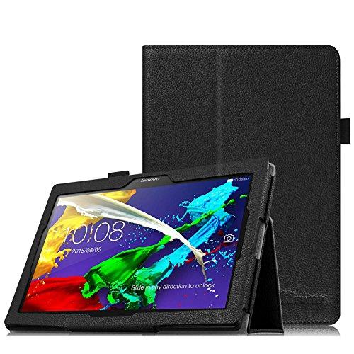 Fintie Lenovo Tab 2 A10-30 / Tab 2 A10-70 / Tab 3 10 Plus Hülle Case - Folio Kunstleder Schutzhülle Tasche Etui mit Auto Schlaf / Wach Funktion für Lenovo Tab 2 A10-30 / A10-30L / A10-30F / Tab 2 A10-70 / A10-70L / A10-70F / TAB3 10 Plus / Tab 3 10 Business 10,1 Zoll Tablet, Schwarz (Kunstleder Tasche)