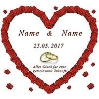 Hochzeitsherz zum Ausschneiden für das Brautpaar * personalisiert mit den Vornamen und dem Hochzeitsdatum für das Hochzeitsspiel * auch zur Hochzeitsdekoration und als Überraschung zur Hochzeit