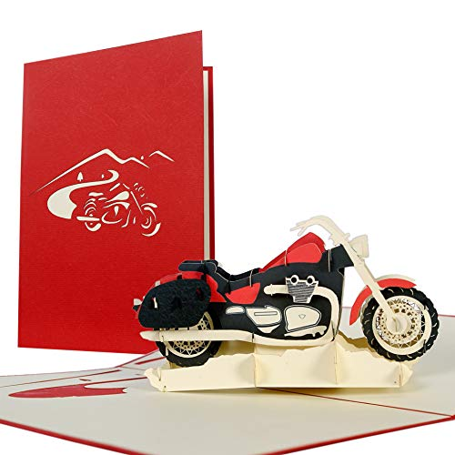 Biglietti auguri compleanno 3d motociclista, biglietti invito compleanno pop up con moto per bambini o patente moto, cartolina compleanno papà, biglietti auguri patente, t17