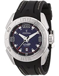Festina Men's Quartz Watch with Blue Dial Analogue Display and Black Rubber Strap f16505/2