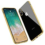 ANTTO Case for iPhone XS Max, Protective Clear Phone Case with Stylish Edge Slim Thin Transparent TPU Bumper Cover for iPhone XS Max (2018) - Gold