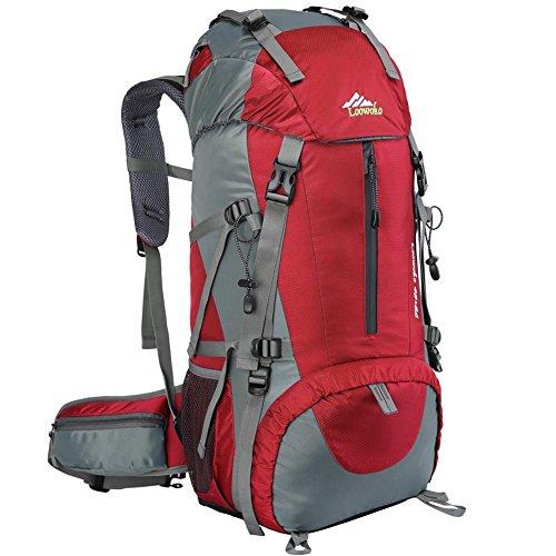 Loowoko Wanderrucksack, 50 l, wasserdicht, Reiserucksack, Trekkingrucksack, mit Regenschutz für Männer und Frauen, UK-50L-Red, rot