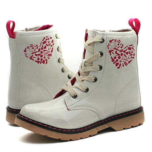 BA122 Barbie-Kids Biker/Worker Boots w/side zip Mid Calf for Girls in Patent >      > Filles d'âge Bottes biker style avec zip latéral dans vernice White (blanc)