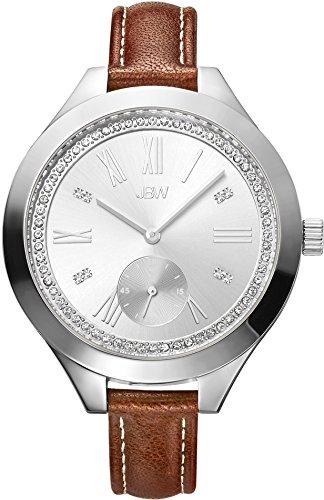 JBW WOMEN'S ARIA DIAMOND 40MM LEATHER BAND STEEL CASE QUARTZ WATCH J6309C