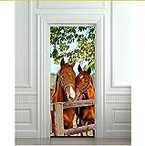 Diy 3D Wandaufkleber Wandbild Home Decor Pferde Stall Scheune Entfernbare Tür Aufkleber Decole 77X200cm