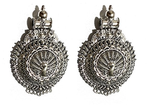 Goelx Antique Silver Designer Round Peacock Pendant for Necklace Making, Pack of 2 - Design 15