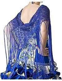 ANUKA Mantón de encaje con flecos largos para la danza flamenco o sevillanas