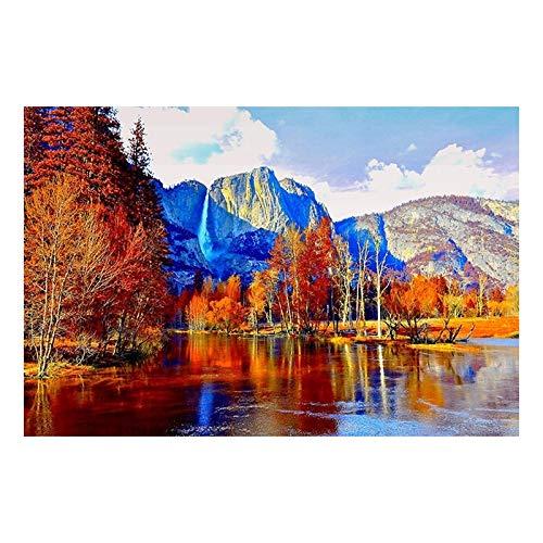 Haomo Wand Kunstdruck bilderrahmen 1 stück Herbst Berg Wasserfall blätter Natur malerei Landschaft leinwand Poster rahmenlose Dekoration 50 * 70 cm -