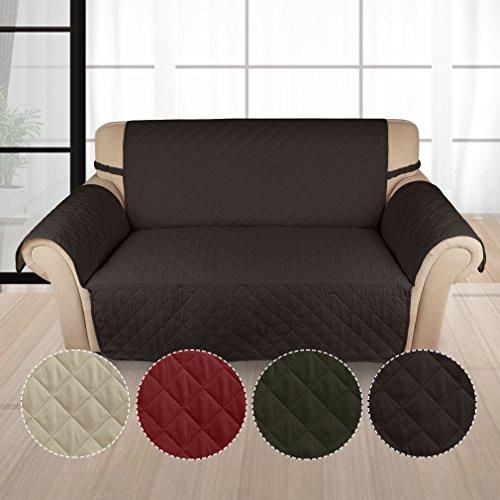 Kinlo copridivano 2-posti (167*112 cm) cioccolato copripoltrona imbottito copertura trapuntato per sedia matte fodera per gli animali domestici anti-graffio, antifouling, divano di protezione 2 anni di garanzia