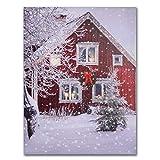 NIKKY HOME Dekorative erleuchtet Snow house LED Wand Art Prints Leinwand Drucke für Weihnachten Decor