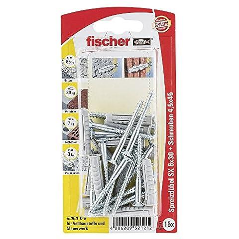 Fischer Spreizdübel SX 6 x 30 GKS K SB-Karte, 15 x Holzschraube 4,5 x 40, 052121