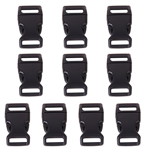 TOOGOO (R) 10 parts 5 / 8 'side plastic buckles release 0.6' webbing (Black)