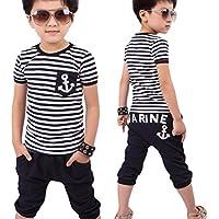 Culater® Nuovi Bambini Abbigliamento bambini Navy maglietta a righe e pantaloni Tute