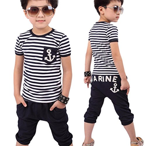 Culater® Nuovi Bambini Abbigliamento bambini Navy maglietta a righe e pantaloni Tute (100)
