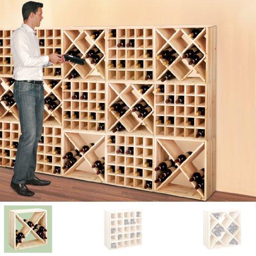 Weinregal / Flaschenregal System CUBE 52, Modul 2 'Rauten' für 24 Fl., Holz Kiefer natur - H 52 x B...