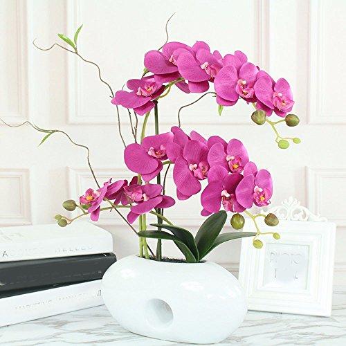 SCLOTHS Künstliche Blumen Seidenblumen Orchidee moderne Keramik Vase Violett Home Dekorationen für Braut Hochzeitsstrauß Geburtstag Blumen Hotel Party Garden Decor