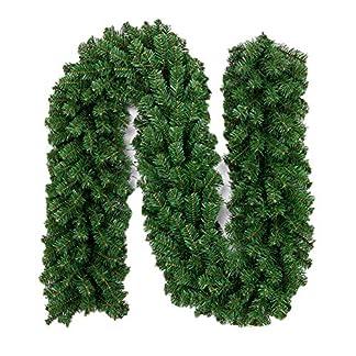 kentop guirnalda de abeto artificial verde abetos Navidad Guirnalda Decoración DIY guirnalda 2.7m decorativa de Navidad para Interior y Exterior