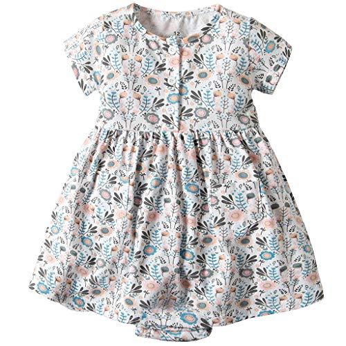 JiAmy Baby Kleid Mädchen Kleider Sommer Prinzessin Kurze Ärmel Kleidung Party Festlich Outfits Blume Kleinkind Sonne Blume Blau 3-6 Monate (Blumen-sonne-kleid)