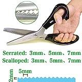 Hui Tong Tijeras dentadas, tijera zig zag profesional de acero inoxidable para confección costura artesanía 23,5 cm