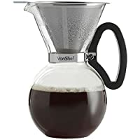 VonShef Glass Pour Over Coffee Maker with Permanent Stainless Steel Filter