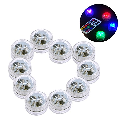 LEDMOMO 10 stücke Ferngesteuerte Tauch RGB LED Wasserdichte Tee Lichter Batteriebetriebene Sub Lichter Kerze Lampe Für Aquarium Pool Hochzeit