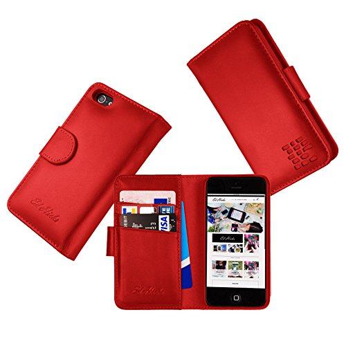 """Luxus Echtes Leder iPhone 7 Ledertasche Kompakt Brieftasche Hülle mit """"Doppelt Schild"""" Schutz und Gegenüber Magnetverschluss um vermeiden Kreditkarte Korruption. Die Rila in Scharlachrot"""