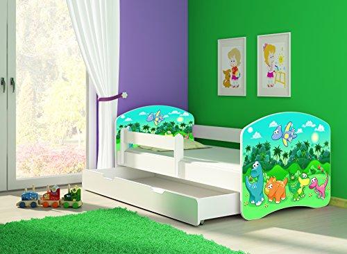 Clamaro \'Fantasia Weiß\' 160 x 80 Kinderbett Set inkl. Matratze, Lattenrost und mit Bettkasten Schublade, mit verstellbarem Rausfallschutz und Kantenschutzleisten, Design: 30 Dinosaurier