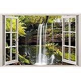XMJR El arte decorativo estilo marco de ventana de muebles para el hogar de calidad 3D pared tridimensional pegatinas falsas ventanas Removable Wall Sticker tamaño 85 * 115cm