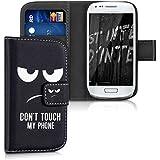 kwmobile Funda para Samsung Galaxy S3 Mini - Wallet Case plegable de cuero sintético - Cover con tapa tarjetero y soporte Diseño Don't touch my phone en blanco negro