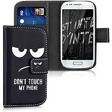 kwmobile Funda chic de cuero sintético para el > Samsung Galaxy S3 Mini i8190 < con una práctica función de soporte - ¡Diseño Don't touch my phone en blanco negro!