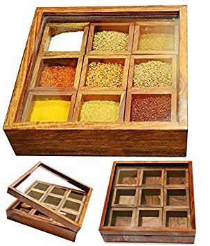 Stylla London Masala Box/Dabba/Lock Spice Rack Container, Holz, braun, 8,58 x 8.31 X 5,3 cm -