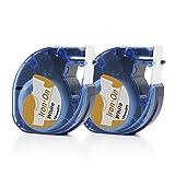 Airmall Aufbügelbare Stoff Etiketten Kompatibel für DYMO LT 18771 LetraTag Drucker 12mm x 2M Schwarz Druck auf Weiß Aufbügeln Kleidung 2-Packs