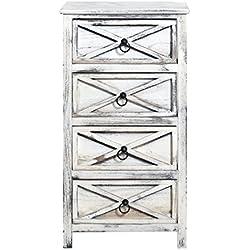 Cajonera vertical chic estilo vintage blanca effecto envejecido 4 cajones por baño, sala de estar y cocina Cod. x-9016