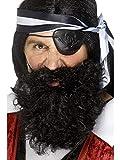 Confettery - Kostüm Accessoires Zubehör Langer wuscheliger Herren Piraten Bart Deluxe, perfekt für Karneval, Fasching und Fastnacht, Schwarz