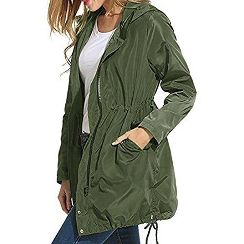 Damen Jacken,Honestyi Damen Regen Jacke wasserdicht Hoodies ZIP Lightweight Graben Mantel Jacke Jahreszeit: Herbst Winter (XL, Armee Grün) (Armee Graben)