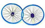 Robuste Vordere und hintere Felge für BMX Bikes, 20 Zoll (50,8cm), mit 9T-Nabe, 48Speichen, ANNODISED BRIGHT BLUE
