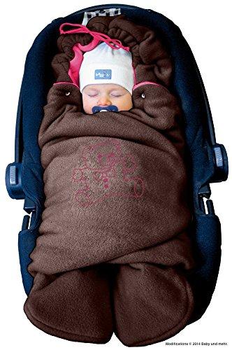 """ByBoom® – Baby Winter-Einschlagdecke """"Das Original mit dem Bären"""", Universal für Babyschale, Autositz, z.B. für Maxi-Cosi, Römer, für Kinderwagen, Buggy oder Babybett, Farbe:Braun/Fuchsia"""