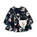 OVERDOSE Mädchen Kleid+ Tasche, Neugeborenes Mädchen Winter Herbst Cartoon Blumen Dicke Warme Langarm Prinzessin Kleid + Tasche Outfits Kleidung Set(6 Monate,B-Navy)