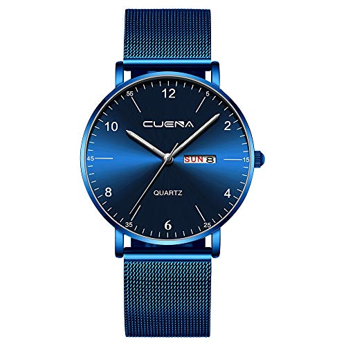 Quarzuhr Herren Armbanduhren, Herren Magnetnetz aus Edelstahl mit Kalender Einfache Casual Quarzuhr EvansampH