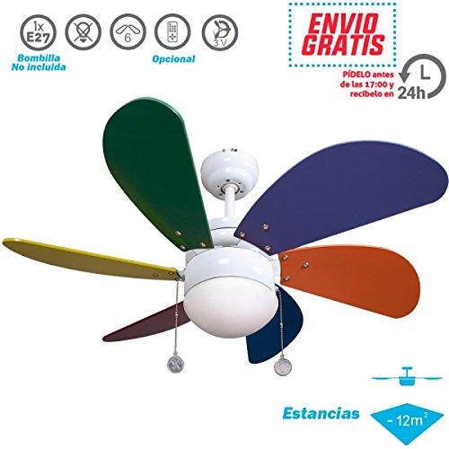Ventilador de Techo Infantil. 6 Aspas. Colores. 1xE27. 77 cm Diámetro.