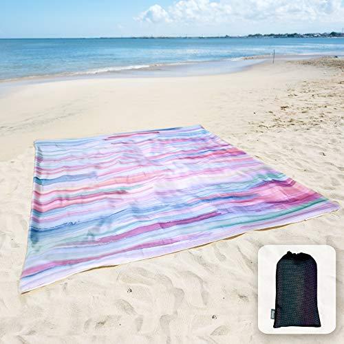 Coperta da spiaggia morbida e setosa, senza sabbia, con tasche angolari, 213x185cm, borsa a rete, per feste in spiaggia, viaggi, campeggio e festival musicali, motivo a righe blu e rosa