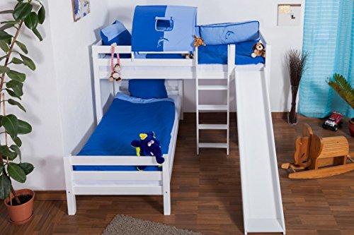 Etagenbett Teilbar Mit Rutsche : ᐅᐅ】 etagenbett buche massivholz weiß mit regal und rutsche