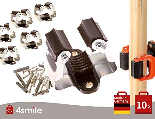 GERÄTEHALTER KLEMMFIX Forte 10-er Set Schwarz-Silber Made in Germany von 4smile ǀ Besenhalter...